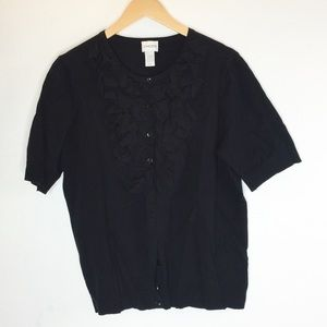 Chico's Black Ruffle Button Down Cardigan